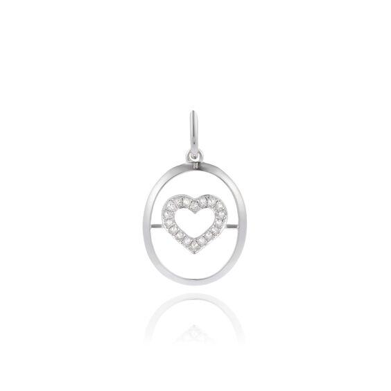 18ct White Gold Diamond Heart Pendant