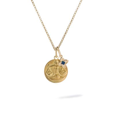 Gold Libra & Sapphire September Birthstone Necklace