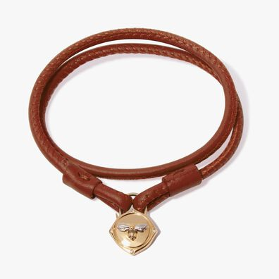 Lovelock 18ct Gold 35cms Brown Leather Bee Charm Bracelet