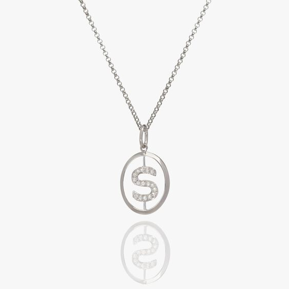 18ct White Gold Diamond Initial S Necklace | Annoushka jewelley