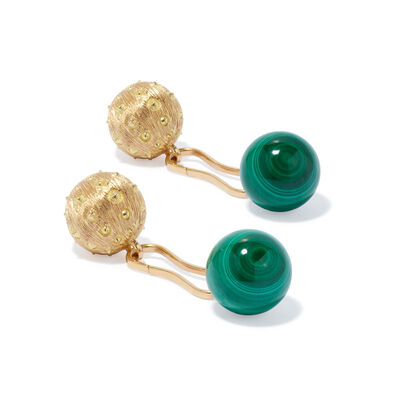 A Pair of 18ct Gold Malachite Cufflinks