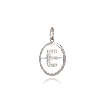 18ct White Gold Initial E Pendant