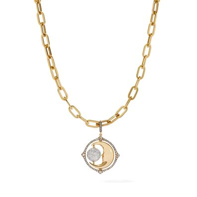 Mythology 18ct Gold Diamond Spinning Moon Charm Necklace