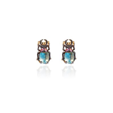 Mythology 18ct Gold Topaz Beetle Studs