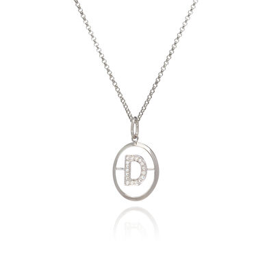 18ct White Gold Diamond Initial D Necklace