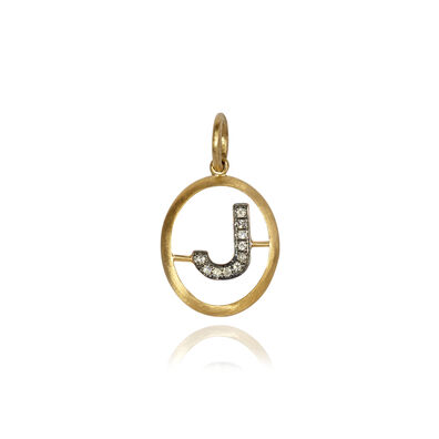 18ct Gold Diamond Initial J Pendant