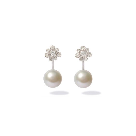Marguerite 18ct White Gold Diamond Pearl Earrings | Annoushka jewelley