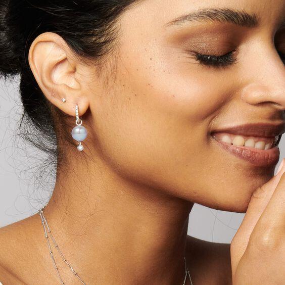 18ct White Gold Diamond & Grey Pearl Earrings