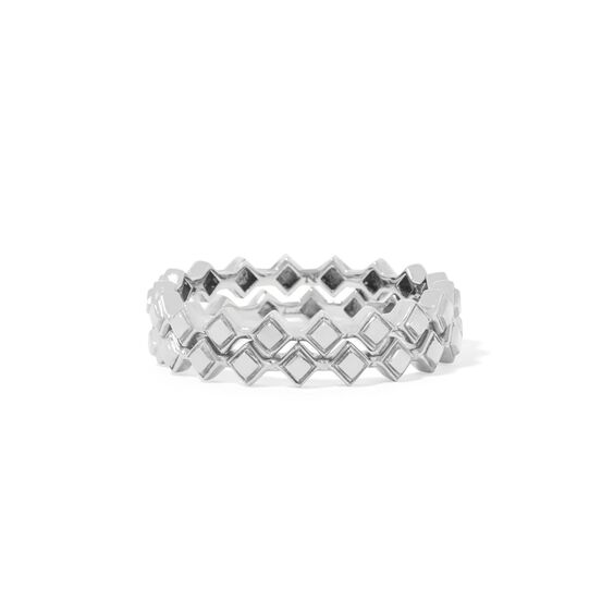 Stepping Stone 18ct White Gold Ring Stack | Annoushka jewelley
