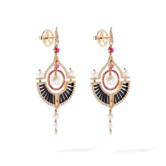 Unique 18ct Gold Pearl Diamond Drop Earrings | Annoushka jewelley