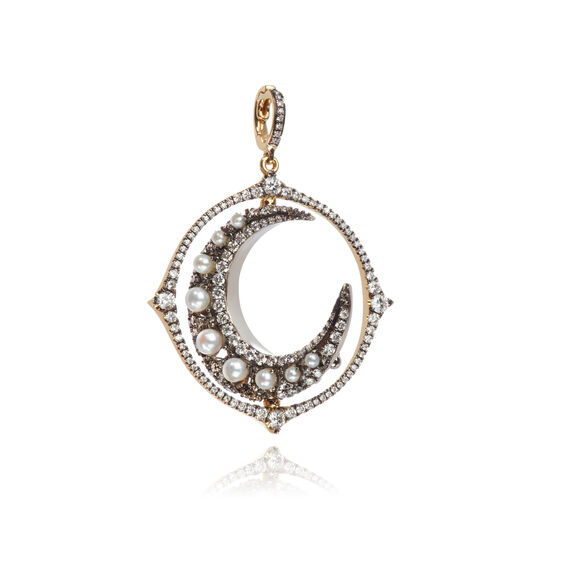 Mythology 18ct White Gold Diamond Spinning Moon Pendant | Annoushka jewelley