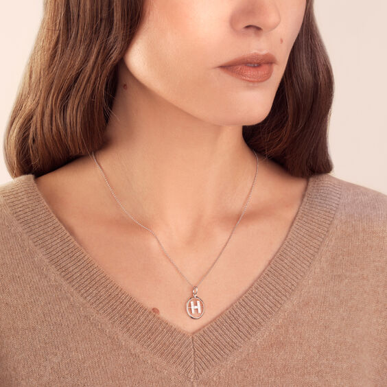 18ct White Gold Diamond Initial H Necklace | Annoushka jewelley