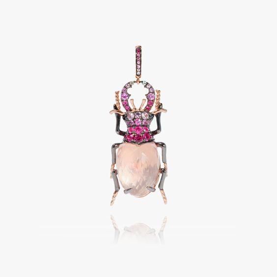Mythology 18ct Rose Gold Rose Quartz Beetle Charm | Annoushka jewelley