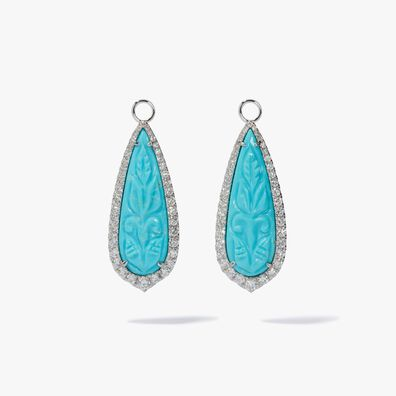 Unique 18ct White Gold Turquoise Earring Drops