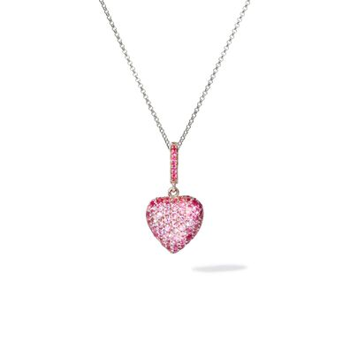 14ct Gold Pink Sapphire Heart Pendant & Chain