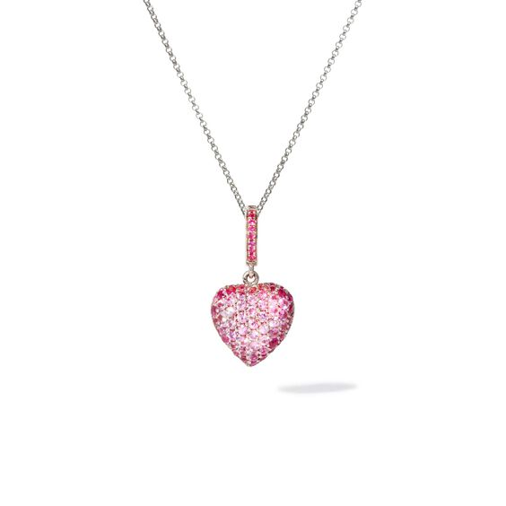 14ct Gold Pink Sapphire Heart Pendant & Chain | Annoushka jewelley