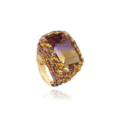 Unique Tsar Feather 18ct Gold Ametrine Ring