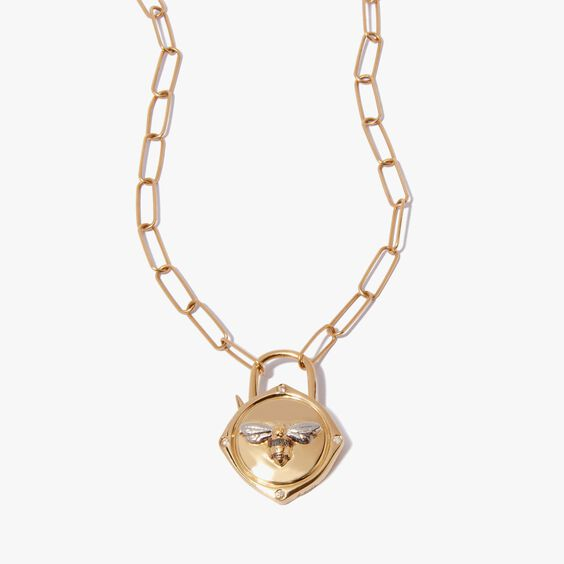 Lovelock 14ct Gold Mini Cable Chain Bee Charm Necklace