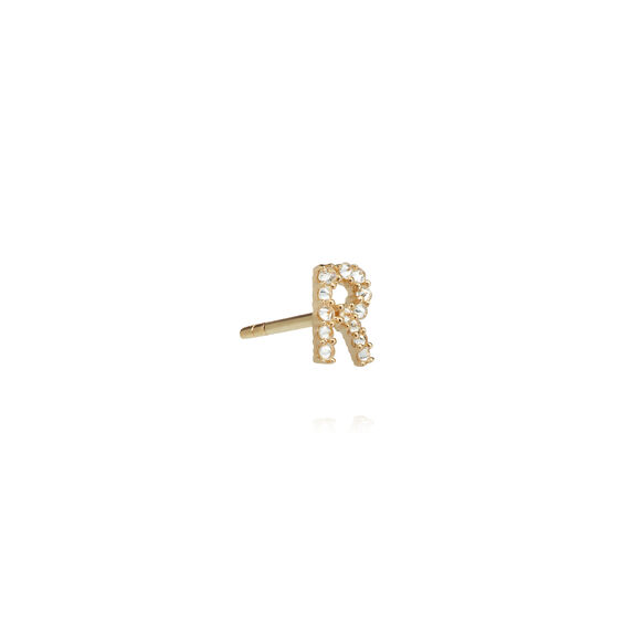 18ct Gold Diamond Initial R Single Stud Earring