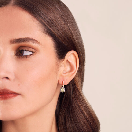 Dusty Diamonds 18ct Rose Gold Peridot Mini Earring Drops