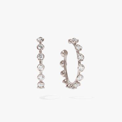 Marguerite White Gold Hoop Earrings