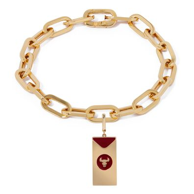 Mythology 18ct Gold Red Envelope Ox Cable Bracelet