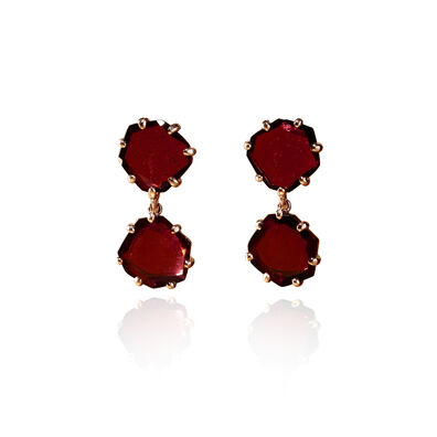Shard 18ct Rose Gold Garnet Drop Earrings