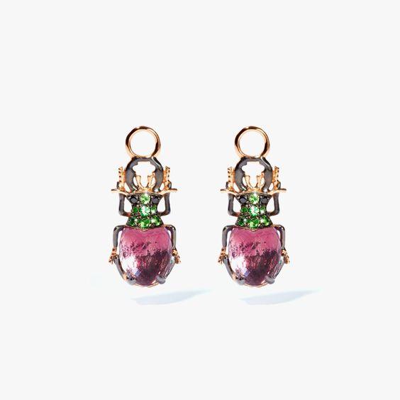 Mythology 18ct Rose Gold Amethyst Beetle Earring Drops | Annoushka jewelley