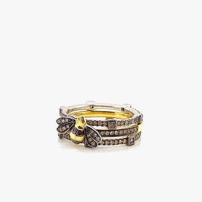 18ct Mixed Gold Pavilion and Bee Diamond Ring Stack
