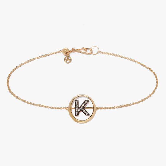 18ct Gold Diamond Initial K Bracelet