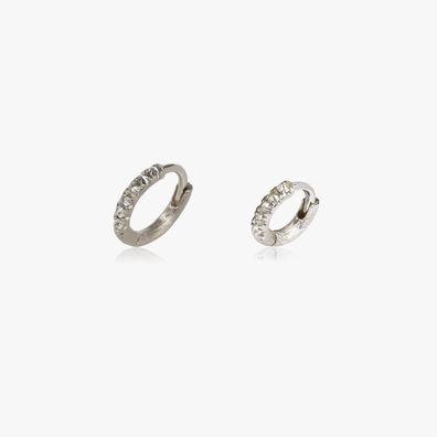 Dusty Diamonds 18ct White Gold Diamond 7.5mm & 10mm Hoops