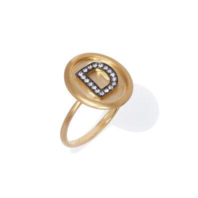18ct Gold Diamond Initial D Ring