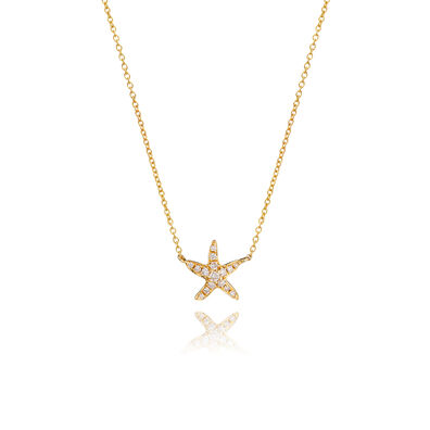 Love Diamonds 18ct Gold Diamond Starfish Necklace