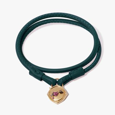 Lovelock 18ct Gold 35cms Green Leather Heart & Arrow Charm Bracelet