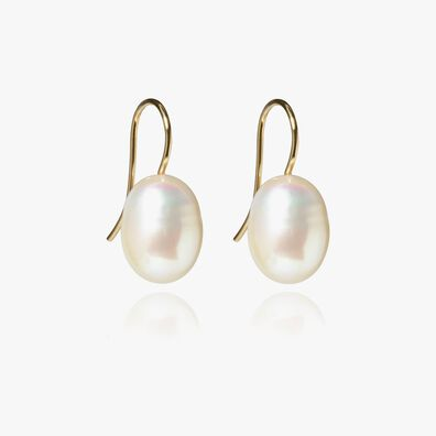 18ct Gold Baroque Pearl Hook Drop Earrings