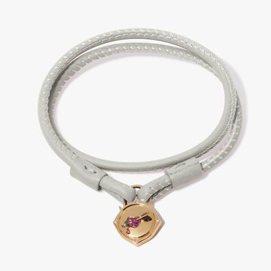 Lovelock 18ct Gold 41cms Cream Leather Heart & Arrow Charm Bracelet