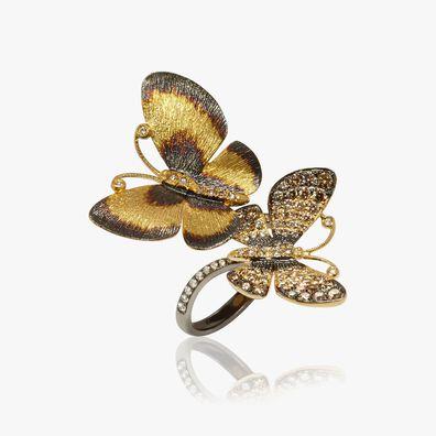 Butterflies 18ct Gold Diamond Duet Ring