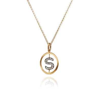 18ct Gold Diamond Initial S Necklace