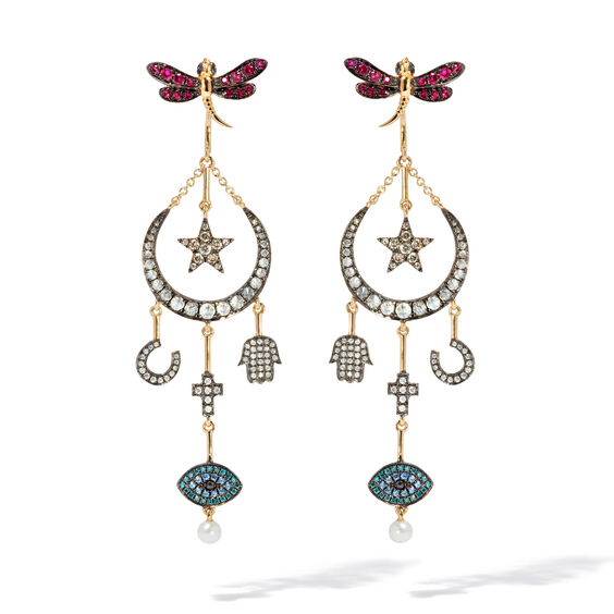 Love Diamonds 18ct Yellow Gold Diamond Lunar Earrings | Annoushka jewelley