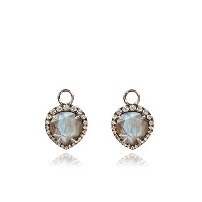 18ct White Gold Feldspar Diamond Earring Drops