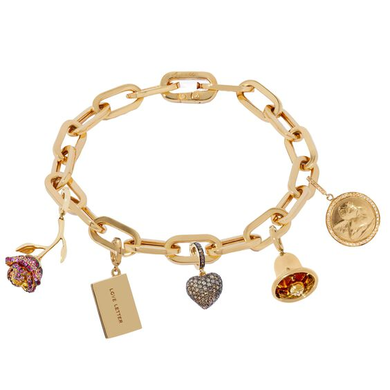 18ct Gold Cable Chain Love Bracelet | Annoushka jewelley