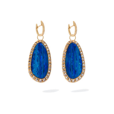Unique 18ct Gold Opal Diamond Earrings