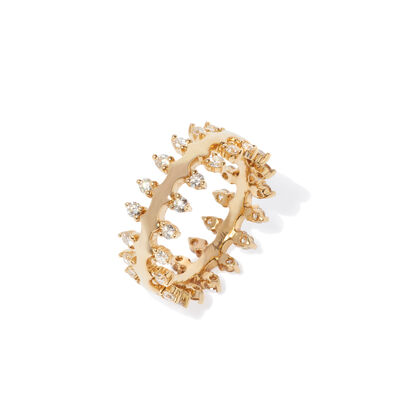 Crown 18ct Gold Double Diamond Ring