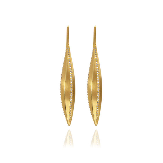 Metamorphosis 18ct Gold Diamond Kernel Seed Earrings | Annoushka jewelley