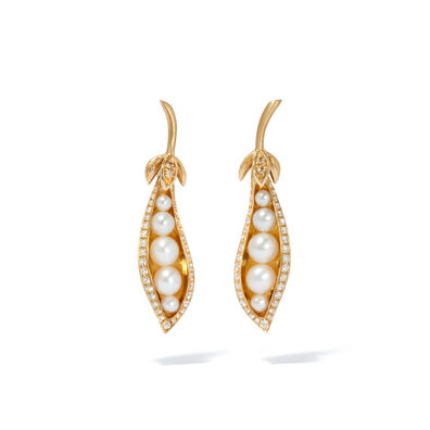 Mythology 18ct Gold Pearl Diamond Peapod Earrings