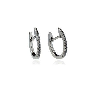 Eclipse 18ct White Gold Black Diamond Fine Hoop Earrings