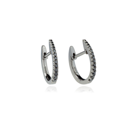 Eclipse 18ct White Gold Black Diamond Fine Hoop Earrings | Annoushka jewelley