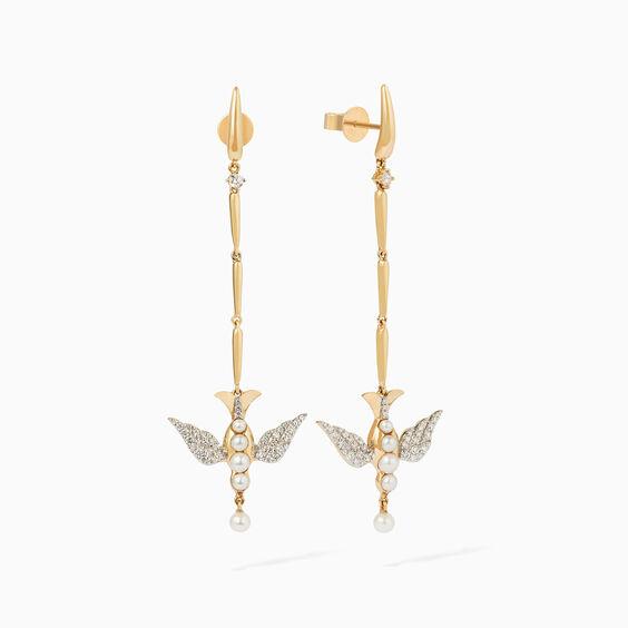 18ct Gold Pearl Diamond Lovebirds Stiletto Earrings