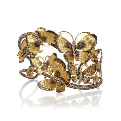 Butterflies 18ct Gold Diamond Cuff