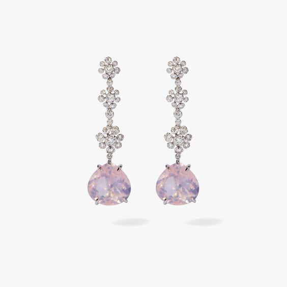 Marguerite 18ct White Gold Diamond Quartz Drop Earrings